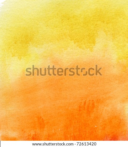 abstract yellow and orange watercolor background - stock photo