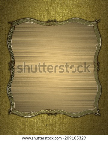 Abstract yellow background with golden name plate for text with gold trim. Design template. Design site