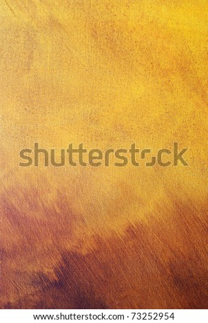Abstract yellow-brown painting  on canvas .Nice texture,good for background - stock photo