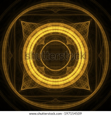Abstract yellow fractal shapes with black background - stock photo