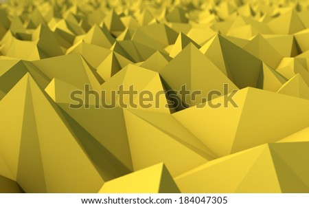 Abstract Yellow Low Poly 3d Background with Depth of Field Effect - Polygonal Render - Raster Image - stock photo