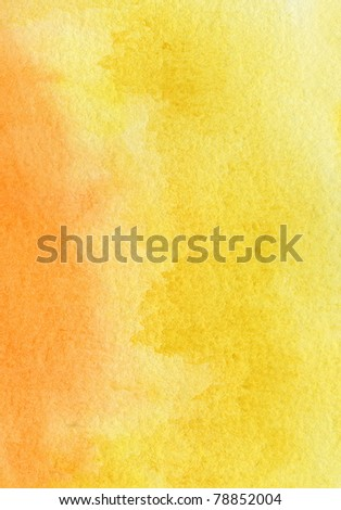 Abstract yellow, red and orange watercolor background - stock photo