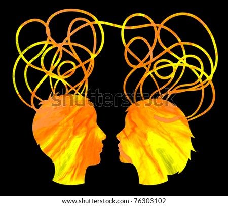Abstract yellow silhouette of couple heads, friendship concept