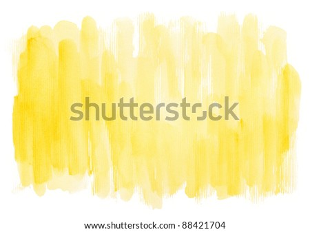 Abstract yellow watercolor hand painted artistic background. - stock photo