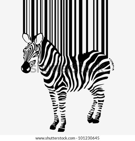 abstract  zebra silhouette with barcode - vector version in portfolio - stock photo