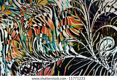 abstract zebra skin texture illustration print with overlaying scroll motif. - stock photo