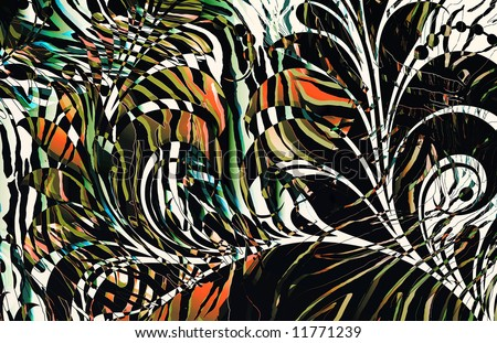 abstract zebra skin texture illustration with overlaying scroll motif and exotic coloring - stock photo