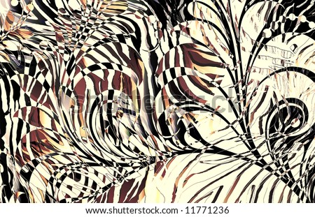 abstract zebra skin texture illustration with overlaying scroll motif and exotic colors - stock photo