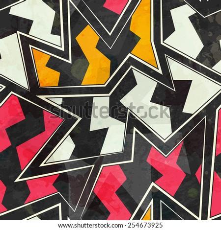 abstract zigzag geometric seamless pattern  (raster version) - stock photo