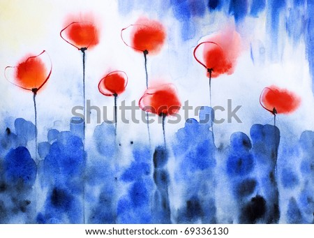 Abstraction blue red bright poppies drawn water color colors on a water color impressive paper - stock photo