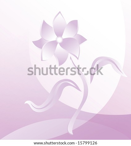 Abstraction floral design with one flower, rasterized version
