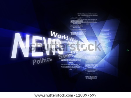 Abstraction on social media news. Blue blue abstraction with large inscription news, abstract background glow - stock photo