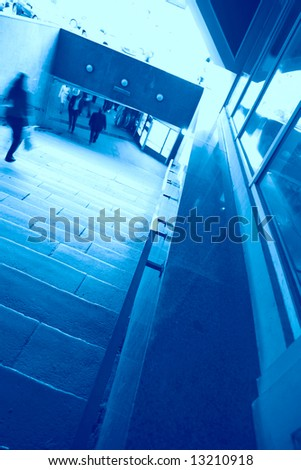 abstraction, stairway in underpass in blue tonality