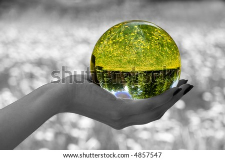 Abstraction. The glass sphere lays on a palm. The turned bright garden with dandelions is visible in sphere. All rest - is decoloured and blur. - stock photo