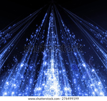 Abstraction with laser beams and flare sparks and the stars are shining in the darkness, blue monochrome light descends in the form . abstraction-based fractal graphics - stock photo