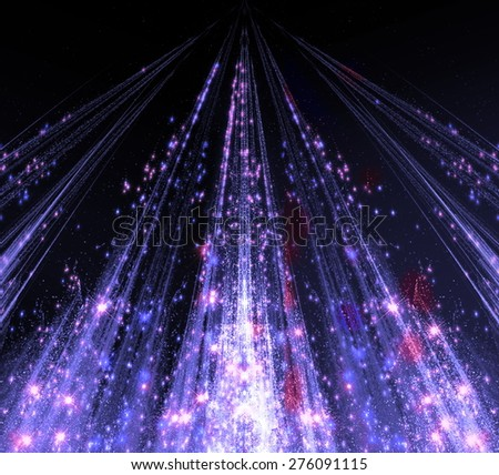 Abstraction with laser beams and flare sparks and the stars are shining in the darkness, monochrome light descends in the form . abstraction-based fractal graphics - stock photo