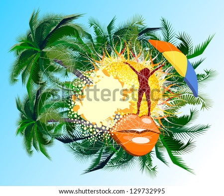 Abstraction with palm rest. Raster - stock photo