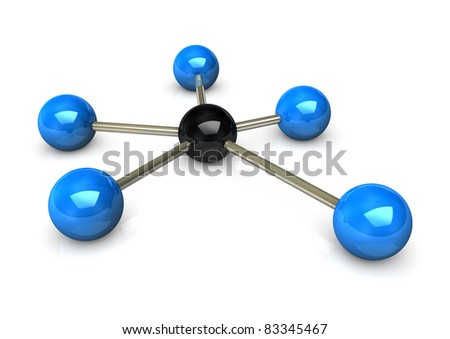 Abstractly rendering of the networks, blue and black balls on the white background. - stock photo