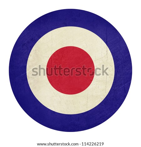 Abstrat grunge British Royal Air Force roundel, also used as symbol of mod music. - stock photo