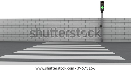Absurd crosswalk. The road leads into a brick wall - stock photo