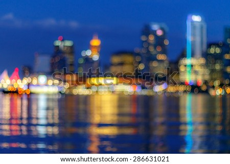Abtract blur of Vancouver skyline, British Columbia, Canada - stock photo