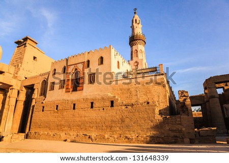 abu al haggag mosque in the ruins of luxor temple, egypt - stock photo
