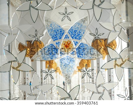 ABU DHABHI, UAE - JUN 8: View of the grand Sheikh Zayed mosque - Panorama of decoration of Sheikh Zayed Mosque at Abu Dhabi, photo was taken on 8-Jun-2015
