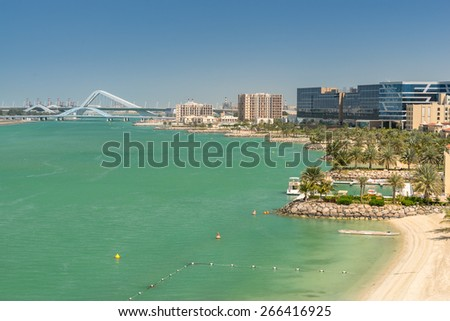Abu Dhabi beach at Al Maqta - stock photo