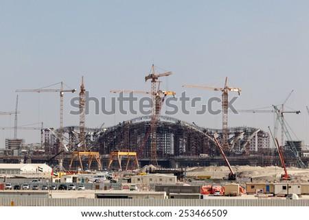 ABU DHABI - DEC 23: Construction Site of the new International Airport in Abu Dhabi. December 23, 2014 in Abu Dhabi, United Arab Emirates - stock photo