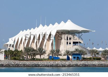 ABU DHABI - DEC 23: Grandstand at the Yas Marina Circuit in Abu Dhabi. December 23, 2014 in Abu Dhabi, United Arab Emirates - stock photo