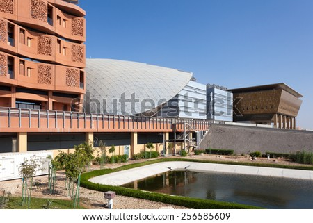 ABU DHABI - DEC 23: View of the Masdar Institute of Science and Technology, Abu Dhabi. December 23, 2014 in Abu Dhabi, United Arab Emirates - stock photo