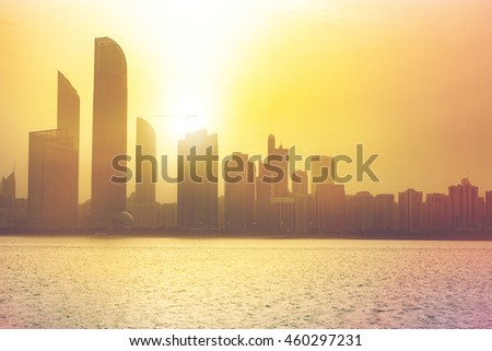 Abu Dhabi downtown sunset silhouette