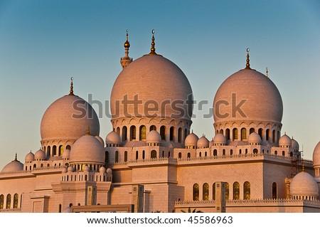Abu Dhabi Mosque - stock photo