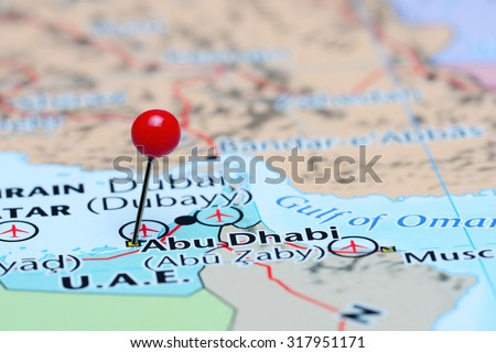 Abu Dhabi pinned on a map of Asia  - stock photo