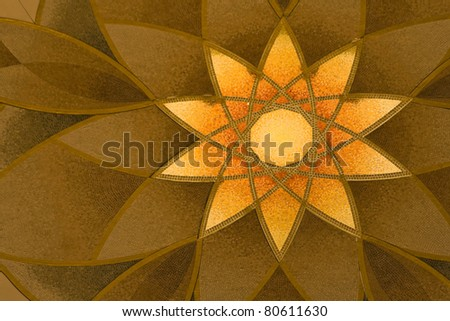 Abu Dhabi Sheikh Zayed Grand Mosque, beautiful pattern on the wall, element of interior - stock photo