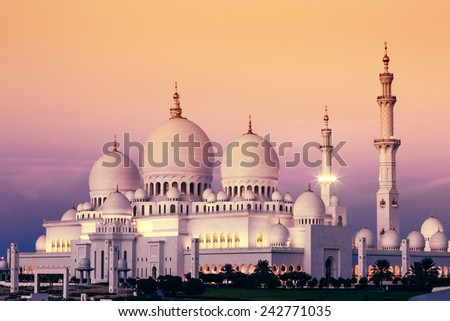 Abu Dhabi Sheikh Zayed Mosque at sunset, UAE - stock photo