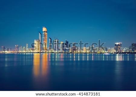 Abu Dhabi skyline - United Arab Emirates - stock photo