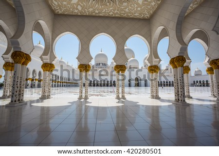 ABU DHABI, UAE -24 APRIL 2016: Sheikh Zayed Grand Mosque in Abu Dhabi, United Arab Emirates. Grand Mosque in Abu Dhabi is the largest mosque in United Arab Emirates . - stock photo