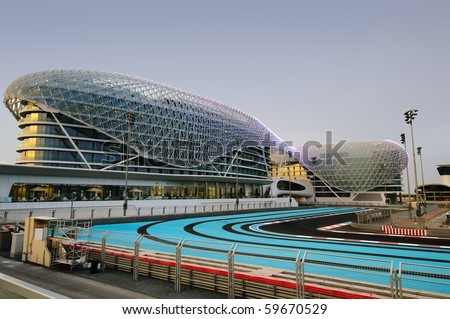 ABU DHABI, UAE - APRIL 25: The Yas Marina Formula 1 Grand Prix Circuit taken on 25th April 2010 in Abu Dhabi. This Years race will be held from 12-14 November 2010 and will be the second race here. - stock photo