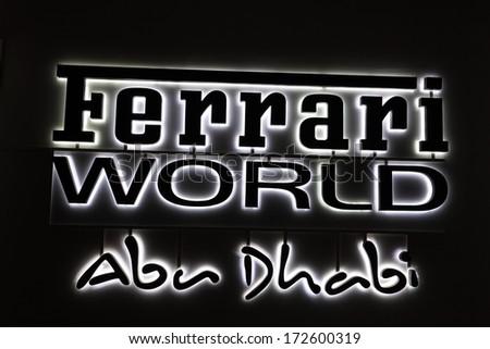 ABU DHABI, UAE - DEC 26: The Ferrari World. Ferrari World is a Ferrari themed amusement park on Yas Island in Abu Dhabi. December 26 2013 in Abu Dhabi, United Arab Emirates - stock photo