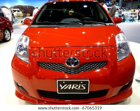 ABU DHABI, UAE - DECEMBER 10:Toyota Yaris on display during Abu Dhabi Int'l Motor Show 2010 at Abu Dhabi Int'l Exhibition Centre December 10, 2010 in Abu Dhabi,United Arab Emirates.