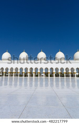 ABU DHABI, UAE, JANUARY 10: Abu Dhabi Sheikh Zayed White Grand Mosque, United Emirates Arab