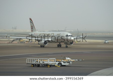 ABU DHABI, UAE - MARCH 10, 2015: Airbus A320-232 (A6-EIR) Etihad Airways after landing at the airport of Abu Dhabi