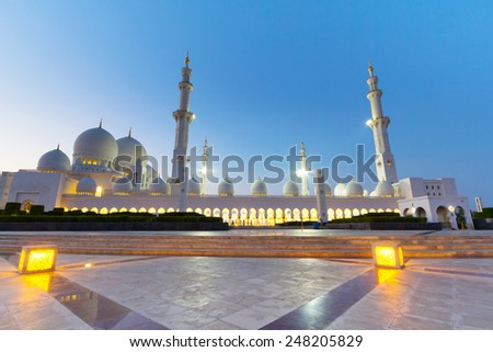 ABU DHABI, UAE - MARCH 27: Sheikh Zayed Grand Mosque in Abu Dhabi on March 27, 2014, UAE. Grand Mosque in Abu Dhabi is the largest mosque in the United Arab Emirates for more than 40,000 prayers. - stock photo