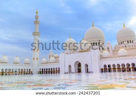 ABU DHABI, UAE - MARCH 26: Sheikh Zayed Grand Mosque in Abu Dhabi on March 26, 2014, UAE. Grang Mosquein Abu Dhabi is the largest mosque in the United Arab Emirates for more than 40,000 prayers. - stock photo