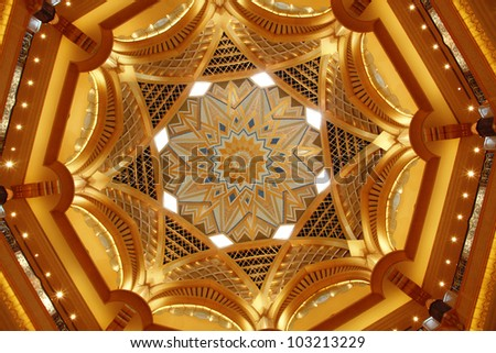 ABU DHABI, UAE - MAY 26: Dome decoration in Emirates Palace hotel on May 26, 2011. Emirates Palace is a luxurious and the most expensive 7 star hotel designed by renowned architect, John Elliott RIBA. - stock photo