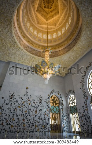 ABU DHABI, UAE - NOV 5: The Shaikh Zayed Mosque interior on the November 5, 2013 in Abu Dhabi, This is largest mosque in UAE white marbel - stock photo