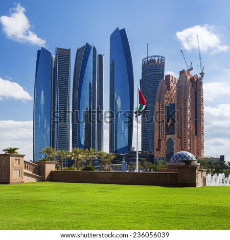 ABU DHABI, UAE - NOVEMBER 30: Etihad Towers on November 30, 2014 in Abu Dhabi. The Etihad Towers is the name of a complex of buildings with five towers in Abu Dhabi, UAE - stock photo