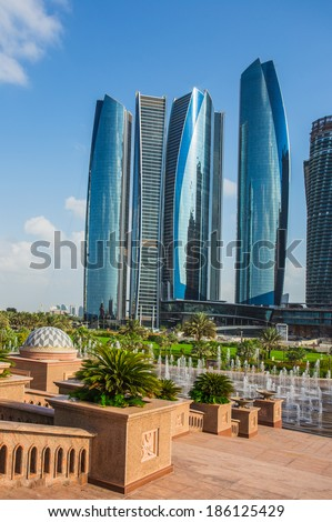 ABU DHABI, UAE - NOVEMBER 5: Etihad Towers on November 5, 2013 in Abu Dhabi, UAE. Etihad Towers is the name of a complex of buildings with five towers in Abu Dhabi, the capital city of UAE.
