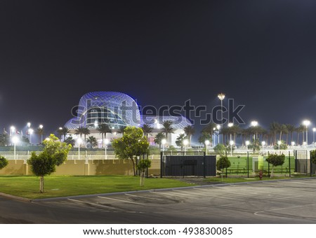 ABU DHABI, UAE - NOVEMBER 5: Ferrari World Park is the largest indoor amusement park in the world. The roof has a total surface area of 200,000 m2. Abu Dhabi on November 5, 2013.